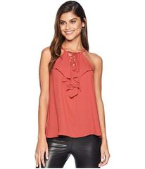 BCBGMAXAZRIA Lace-Up Ruffle Tank Top