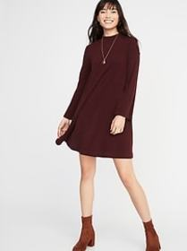 Mock-Neck Rib-Knit Swing Dress for Women