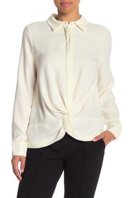 Nicole Miller Gather Front Long Sleeve Button Down