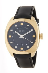 GUCCI Men's Black Dial Leather Strap Watch