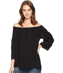 Wrangler Off the Shoulder Top with Lace Insets
