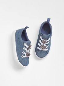 Glitter Applique Chambray Sneakers