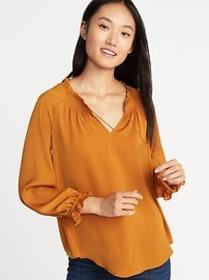 Relaxed Satin Poet-Sleeve Blouse for Women