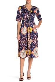 Simply Couture Elbow Sleeve Length Printed Dress