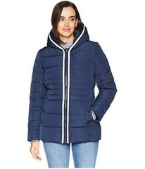 Tommy Hilfiger Zip Front Horizontal Puffer with Ho
