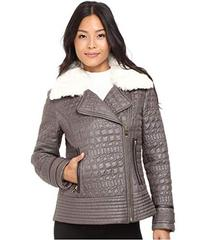 Via Spiga Asymmetrical Croc Like Quilted Bomber wi