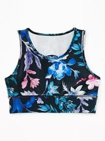 Printed Go-Dry Cool Long-Line Sports Bra for Girls