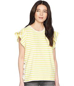 LAUREN Ralph Lauren Petite Striped Cotton Flutter-