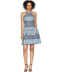 Vince Camuto Printed Scuba Halter Fit and Flare Dr