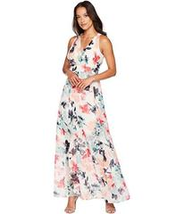 Vince Camuto Printed Chiffon Maxi with V-Neck and