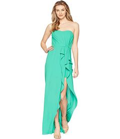 Halston Heritage Strapless Ruffle Front Gown
