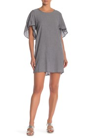 BCBGeneration Ruffle Sleeve Pinstripe Mini Dress