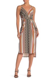 BCBGeneration Printed Faux Wrap Midi Dress