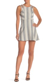 BCBGeneration Stripe Shoulder Cutout Dress