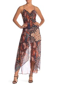 BCBGeneration Printed Hi-Lo Hem Dress