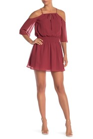 BCBGeneration Cold Shoulder Smocked Waist Dress