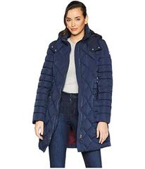 """Tommy Hilfiger Multi Quilt 35"""" Belted Puffer"""
