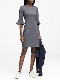 Herringbone Ponte Flutter-Sleeve Dress