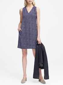 Herringbone Pleated-Shoulder Shift Dress