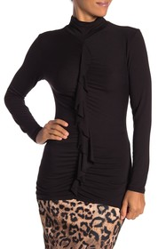 Nicole Miller Ruched Turtleneck With Front Ruffle