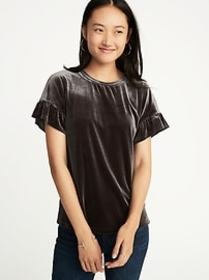 Velvet Ruffle-Sleeve Top for Women