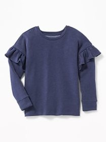 Relaxed Ruffle-Trim Sweater for Girls