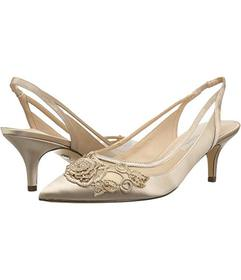 Nina Taupe/Champagne Satin Rose Applique