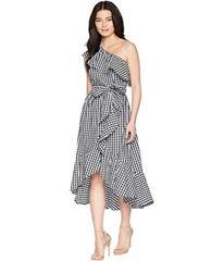 Adrianna Papell Petite Gingham One Shoulder High-L