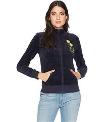 Juicy Couture Floral Patches Velour Fairfax Jacket