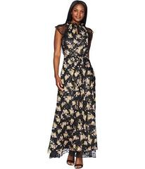Tahari by ASL Floral High Neck with Lace Sleeve A-