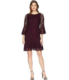 Calvin Klein Bell Sleeve Lace Dress with Flounce H