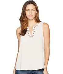 Vince Camuto Sleeveless Embroidered Neck Soft Text