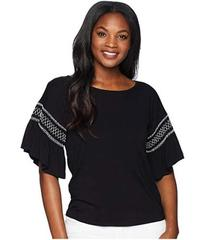 Vince Camuto Drop Shoulder Smocked Ruffle Sleeve T