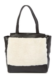 Kooba Yukon Leather & Genuine Shearling Tote Bag