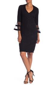 Marina 3/4 Bell Sleeve Sheath Dress