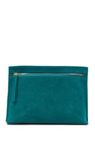 French Connection Kiera Suede Trimmed Clutch