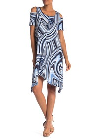 Jones New York Cold Shoulder Sharkbite Hem Dress