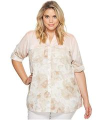 Calvin Klein Plus Plus Size Printed Roll Sleeve Bl