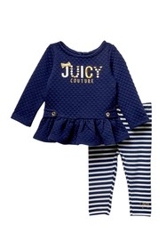 Juicy Couture Quilted Tunic & Striped Leggings Set