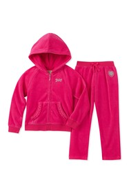 Juicy Couture Fuchsia Scottie Dogs Velour Hoodie &