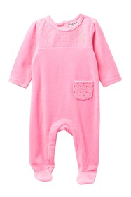 Juicy Couture Diamond Quilted Velour Footie (Baby