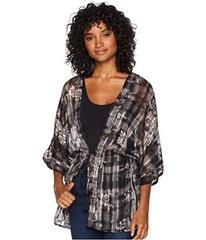 BCBGeneration Plaid Floral Tie-Waist Robe