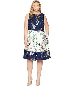 Tahari by ASL Plus Size Scuba Fit-and-Flare Dress