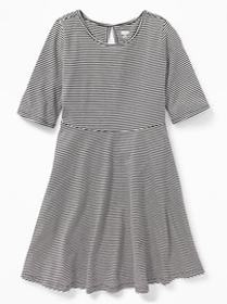 Patterned Jersey Fit & Flare Dress for Girls