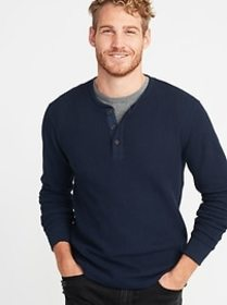 Chunky-Textured Thermal-Knit Henley for Men