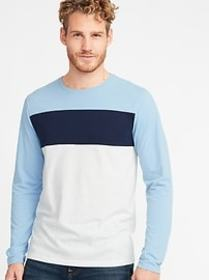Soft-Washed Pieced Color-Block Tee for Men