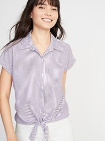 Relaxed Tie-Hem Button-Front Striped Shirt for Wom