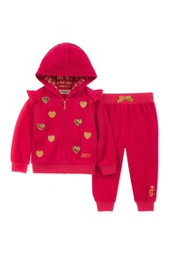 Juicy Couture Dark Pink Velour Hoodie & Pants Set