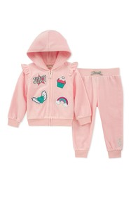 Juicy Couture Baby Pink Velour Graphic Hoodie & Pa