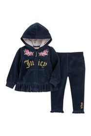 Juicy Couture Navy Velour Floral Hoodie & Pants Se
